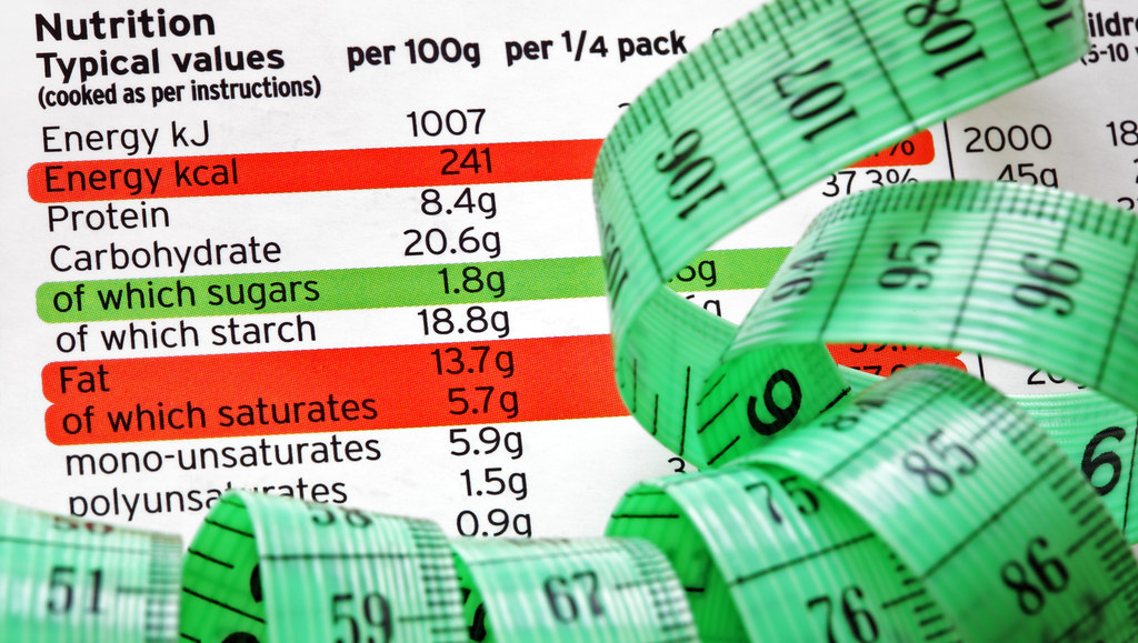 Nutritional labelling with tape measure.