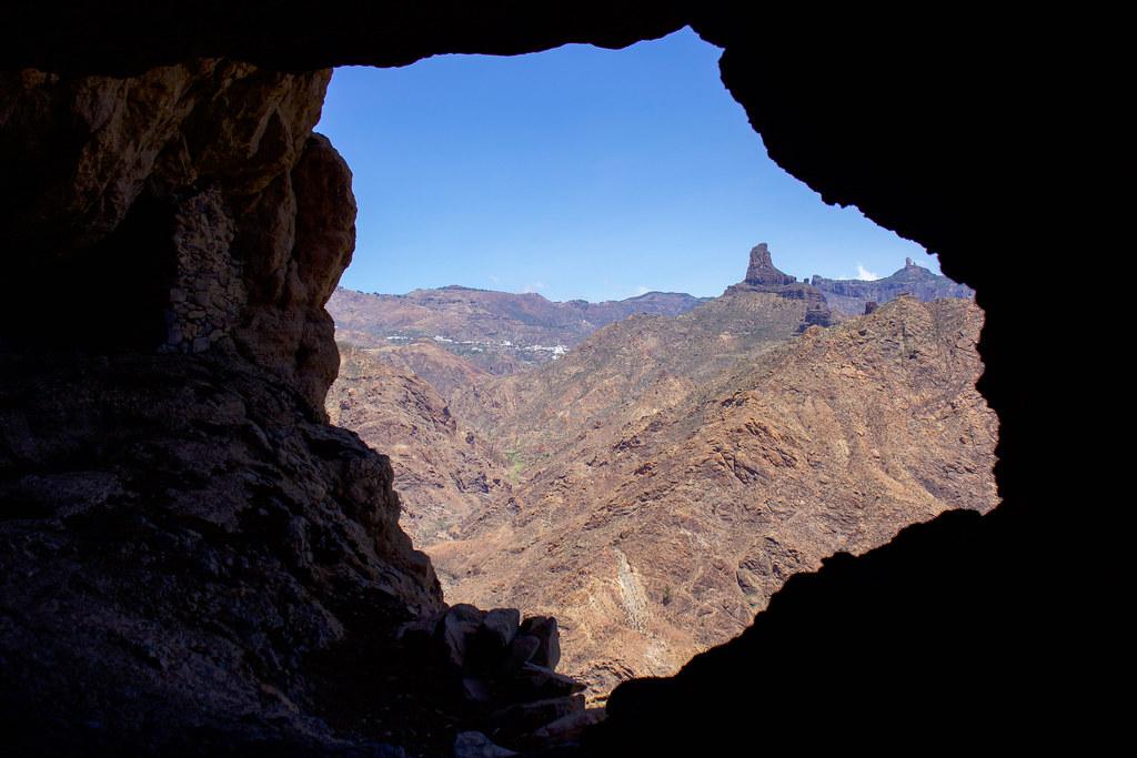 Vista del Roque Bentayga desde Acusa Seca
