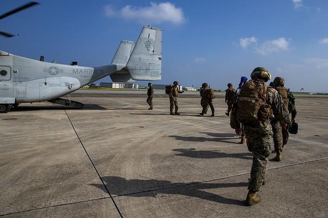 Marines board an MV-22 Osprey in Okinawa, Japan in support of Operation Lightning Strike
