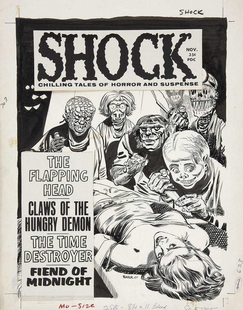 Shock, Original ink illustration by Keator - Volume 1, Issue 04, November 1969
