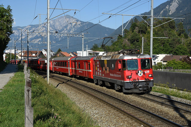 Ge 4/4 II 629 + RE 1761 to Disentis/Mustér, Domat/Ems, 08/08/2020
