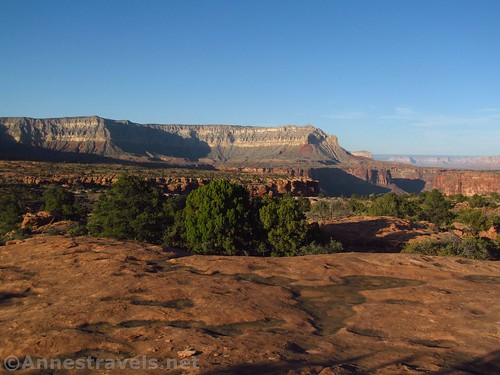 Potholes in the slickrock and views near the Tuweep Campground, Grand Canyon National Park, Arizona