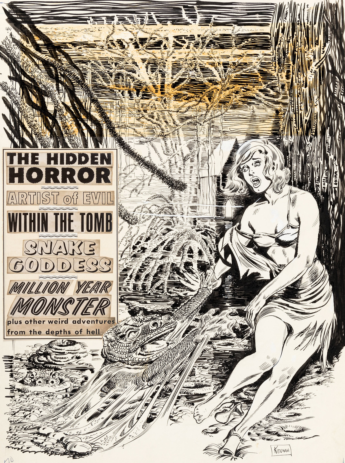 Shock, Original ink illustration by Kijonah - Volume 1, Issue 03, September 1969