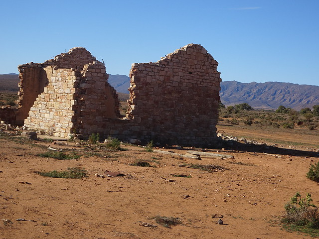 Wonoka in the Flinders Ranges. Town established 1880. The ruins of a good stone house in this ghost town with the ranges beyond.