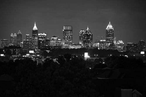 atlanta georgia skyline garson parking deck landscape cityscape black white long exposure