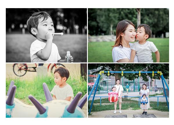 公園で遊ぶ3才の男の子 誕生日記念のファミリーフォト
