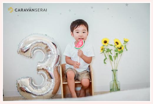3才の誕生日記念のファミリーフォト