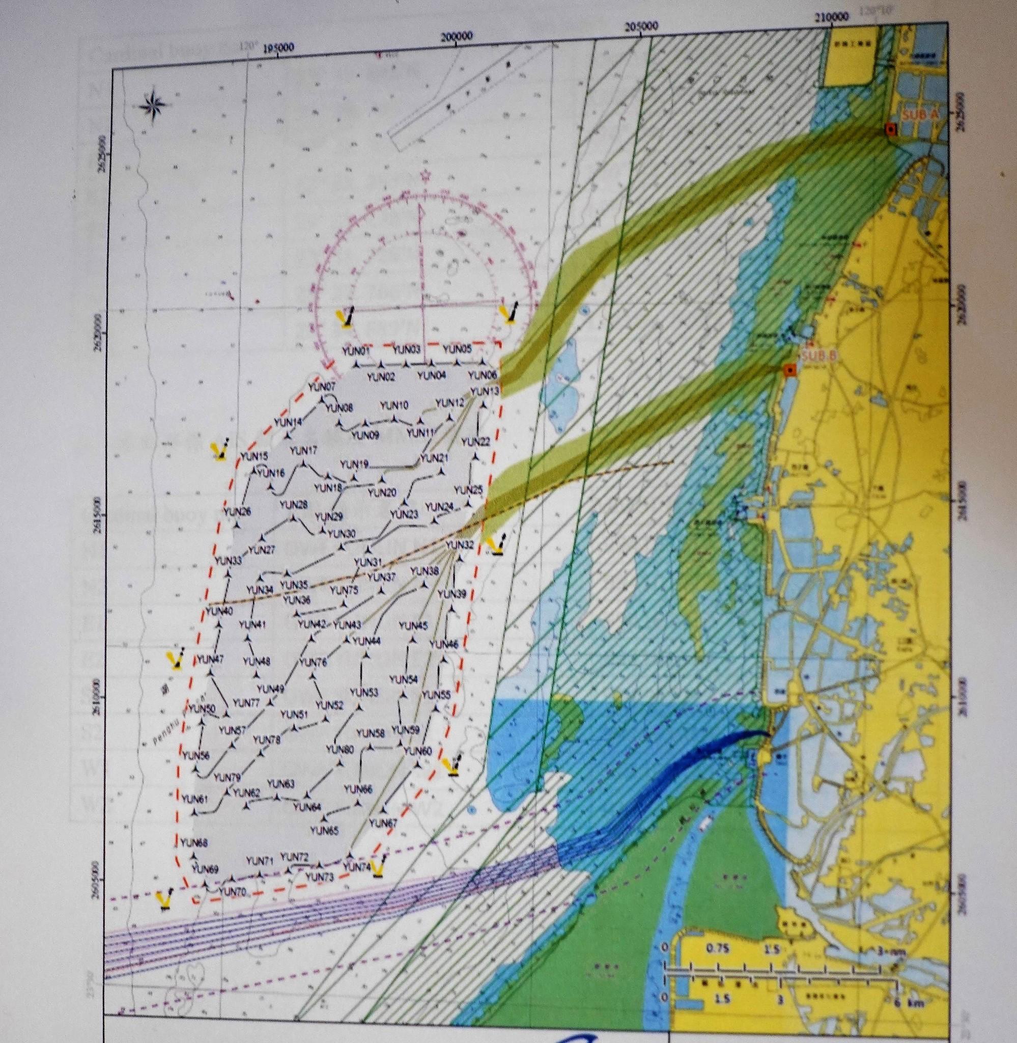 根據達德風力的設置規劃,包括兩條電纜和左側的風機,都與當地魚場重疊。(李平順提供)