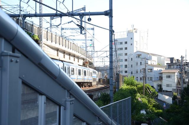 E217 Series Train on Elevated Railroad near Osaki 2