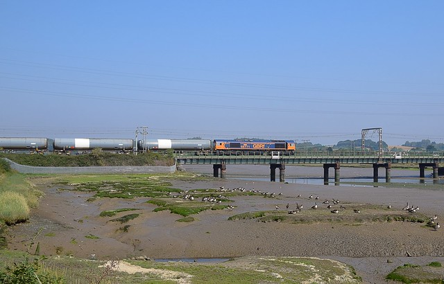 GBRf Loco 66771 heads the 09.57 Harwich Refinery - North Walsham tanks away from Manningtree North Junction and past a gaggle of Geese on the River Stour. 12 08 2020