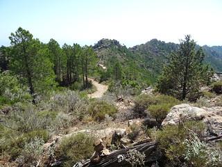 Chemin de Luviu : vue de la piste supérieure de Luviu depuis la section 15
