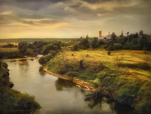 Evening rural landscape.