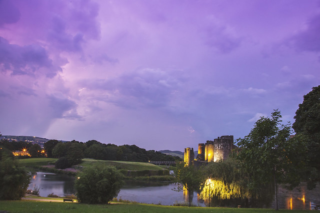 Stormy Skies over Caerphilly Castle