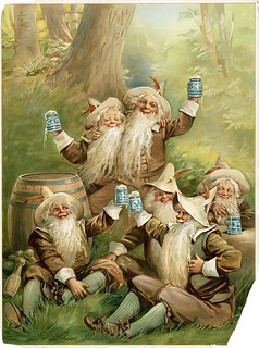 German beer advertisement with happy gnomes, c. 1898.