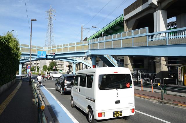 X-shaped Pedestrian Bridge beside Elevated Railroads of JR Joban Line and Tokyo Metro Chiyoda Line