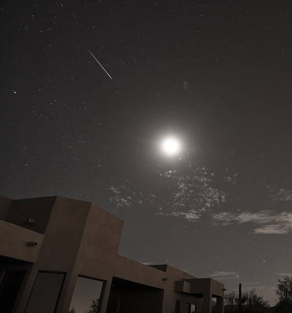 Perseid and bright Moon in Tucson AZ