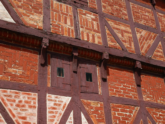 Half-timbered brick building in the 1864 village of the large open-air museum in Aarhus, Denmark