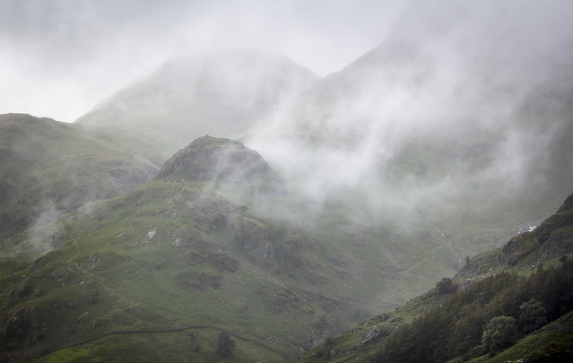 Misty Langdale Pikes, Great Langdale, Lake District National Park, Cumbria, UK