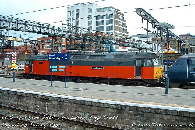 EWS 47789 and GNER 91105, London Kings Cross