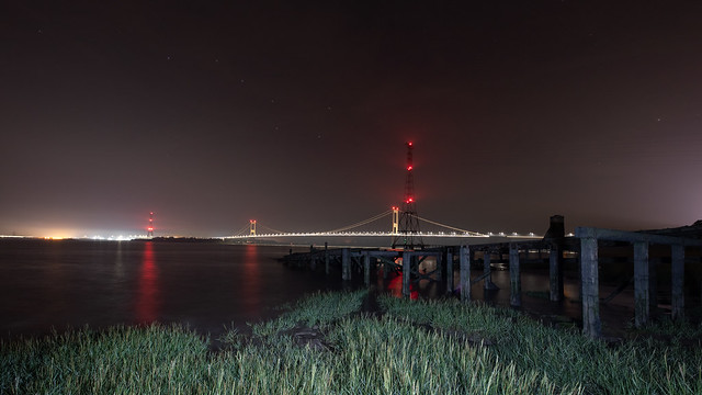Severn bridge on a rising tide