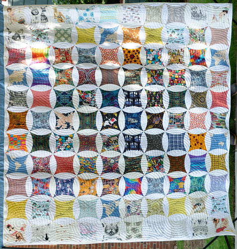 For the first time, I got to see what I did! It was too tall to see the entirety of the quilt top when I was making it.  Every fabric in this quilt contains a story. It is both a gift to Noah, and our VERY belated wedding quilt.