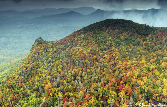 Whiteside Mountain Aerial View of Autumn Colors in Western North Carolina