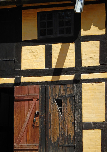 Old doors in the 1864 village of the large open-air museum in Aarhus, Denmark