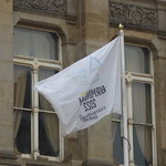 Back-to-front Birmingham 2022 flag in Victoria Square