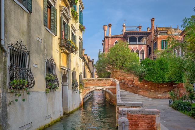 Corner bridge in Dorsoduro, Venice