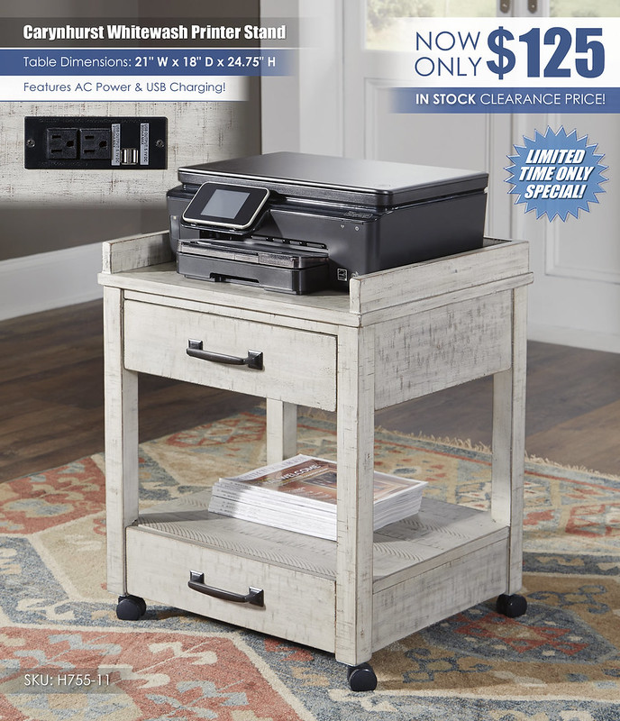 Carynhurst Whitewash Printer Stand_H755-11
