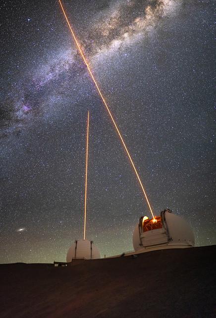 Milky Way, Lasers, Keck I & II and Andromeda
