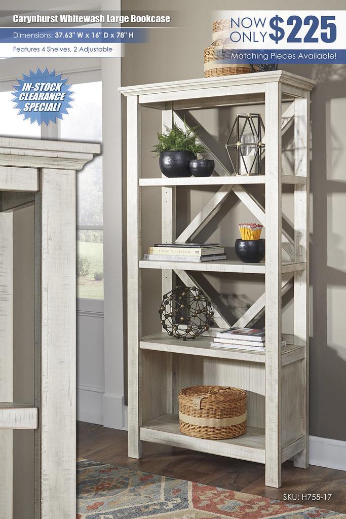 Carynhurst Whitewash Large Bookcase_H755-17
