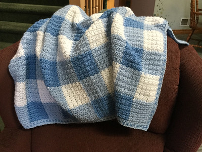 Debbie (@debsnubs) finished this crocheted gingham blanket using Bergere de France Ideal!