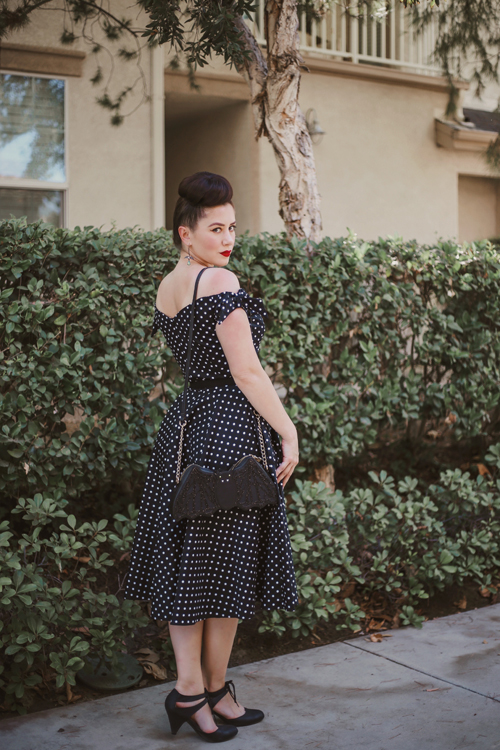 The Pretty Dress Company Fatale Bow Polka Dot Midi Dress