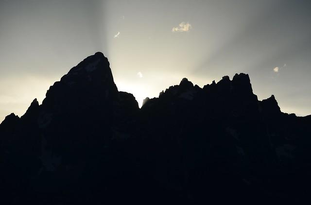 Last rays of sun behind the Grand Teton