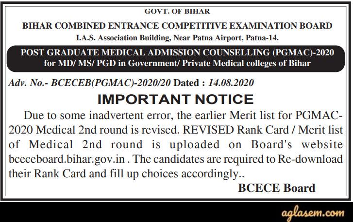 BCECEB PG Medical/Dental 2020 2nd Round Revised Merit List Notice