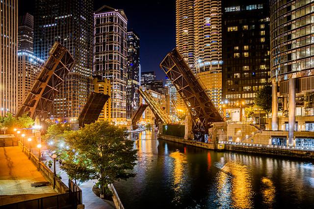 Chicago River Bridges Raised at Night Due to Civil Unrest 2020
