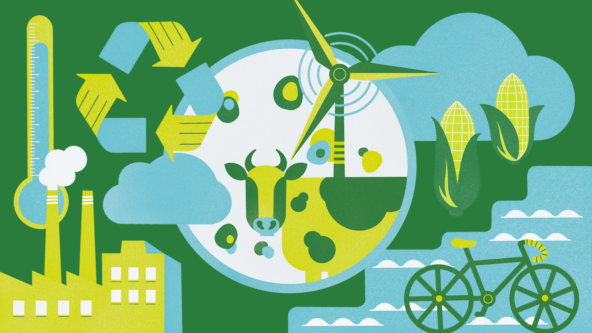 Illustrated collage of factories, a recycling symbol, a cow, a wind turbine, maize and a bicycle