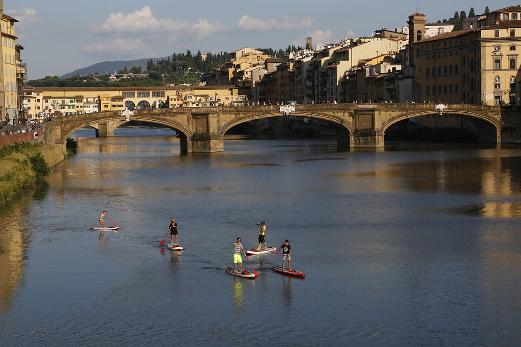 Paddle Surfing on the Arno