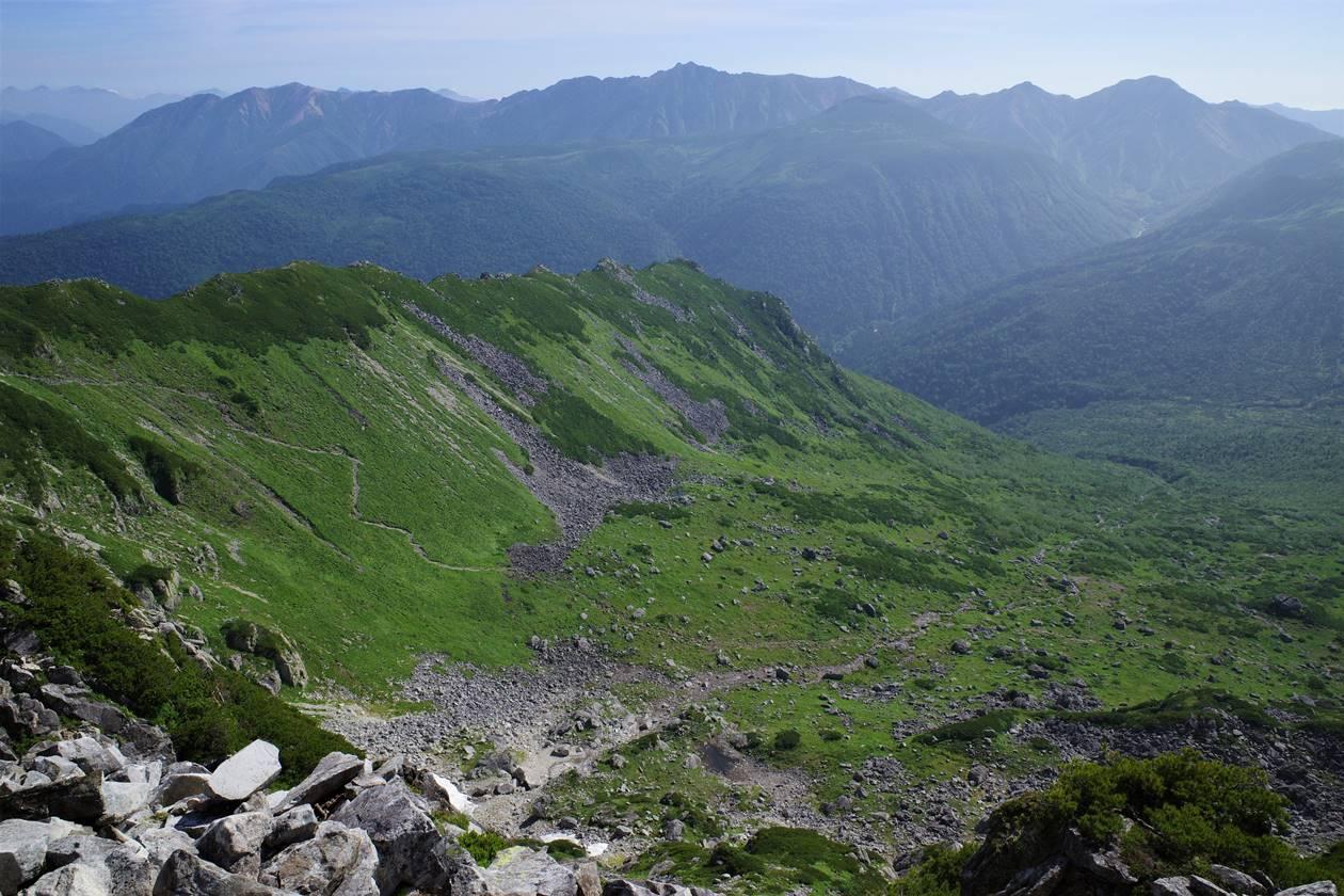 北アルプス・黒部五郎岳のカールと雲ノ平~水晶岳の展望