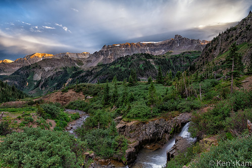 colorado unitedstatesofamerica sunset mountains water clouds waterfall rockymountains mountainside geology ouray mountainstream yankeeboybasin coloradorockymountains kenstravelphotocom