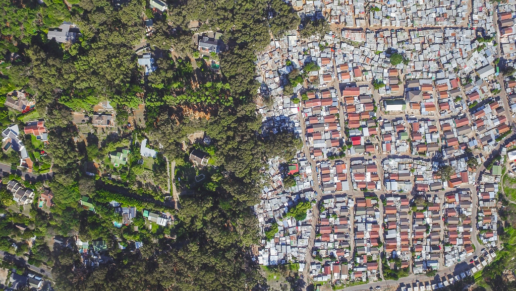 Drone footage of Cape Town townships. Credit: Johnny Miller / Unequal Scences Project (further information below)