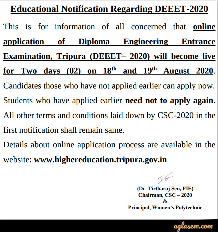 Tripura Diploma Engineering Entrance Exam (DEEET) 2020 Application Form - Reopen