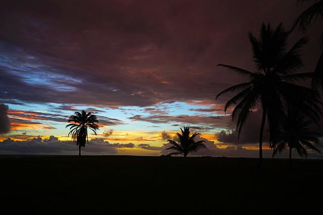 Splendid reddish sky over the golf course, St Kitts