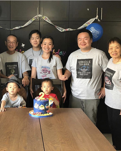 Missed my youngest grandson's second birthday...Aren't the custom Baby Shark t-shirts great! My niece and DIL came up with them and made them!!