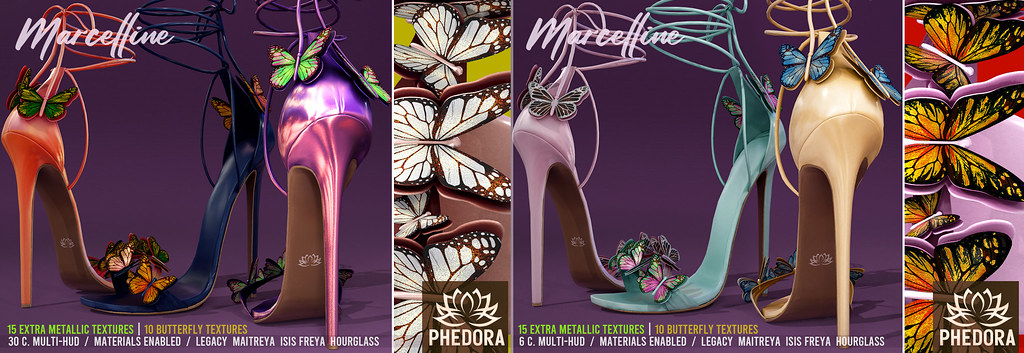 "Phedora. – ""Marcelline"" Butterfly Heels available at Collabor88! ♥"