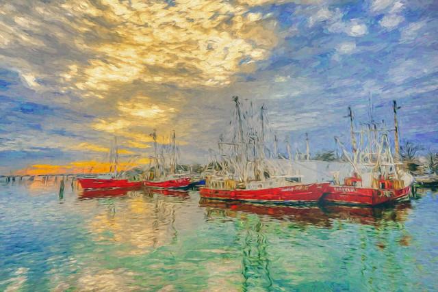 Wanchese fleet at Sunset