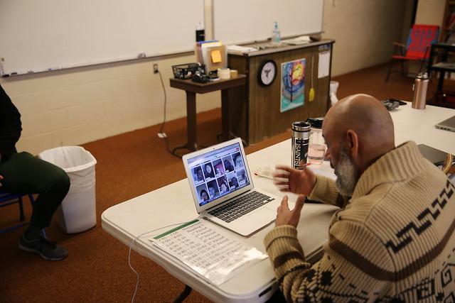 An online Red Cloud Indian School class