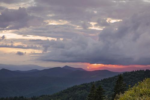 scenery peaceful beautiful vista overlook clouds orange sunset night sky jackson haywood northcarolina mountains blueridge