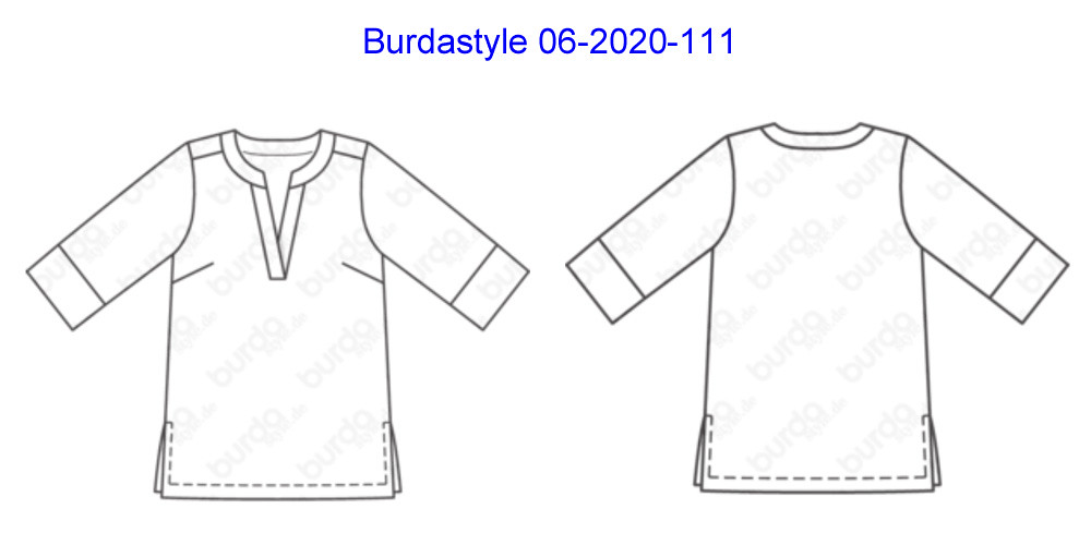 Burda tunic 06-2020-111 tech drawing